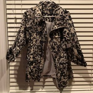 Alfani Women's Animal Print Rain Jacket Size Small